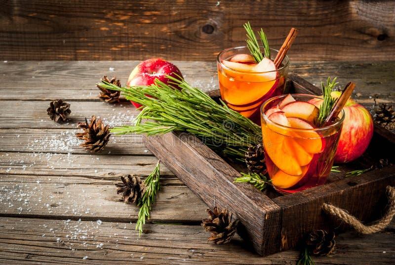 Горячий коктеиль с яблоком, розмариновым маслом, циннамоном стоковая фотография