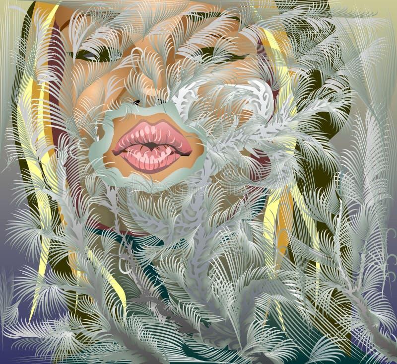 горячий поцелуй иллюстрация вектора