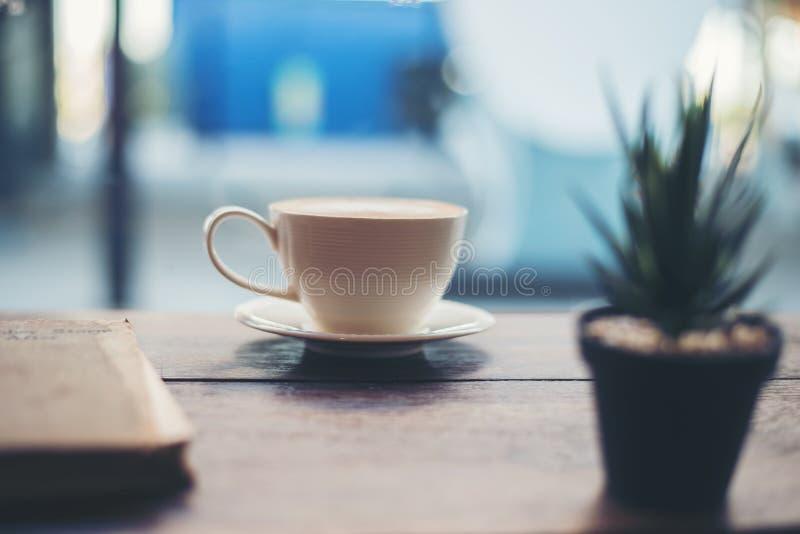 Горячий свежий кофе с малым зеленым заводом кактуса на таблице на coffe стоковая фотография
