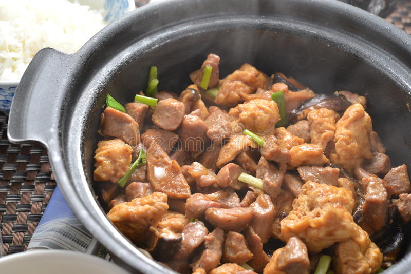 Горячий свинина тофу бака стоковое фото