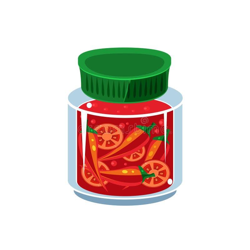 Горячий соус в прозрачном опарнике иллюстрация вектора