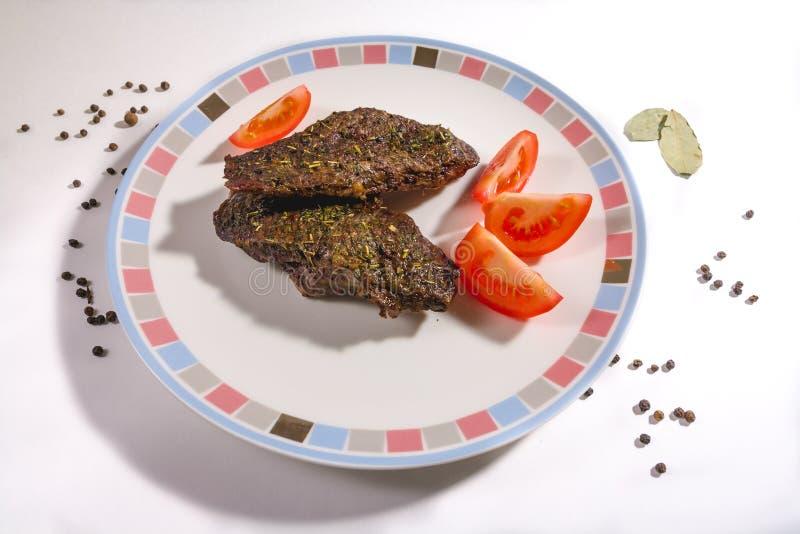 Горячий сочный стейк Machete или со стальным денвером на Barbecue Grill стоковое фото rf
