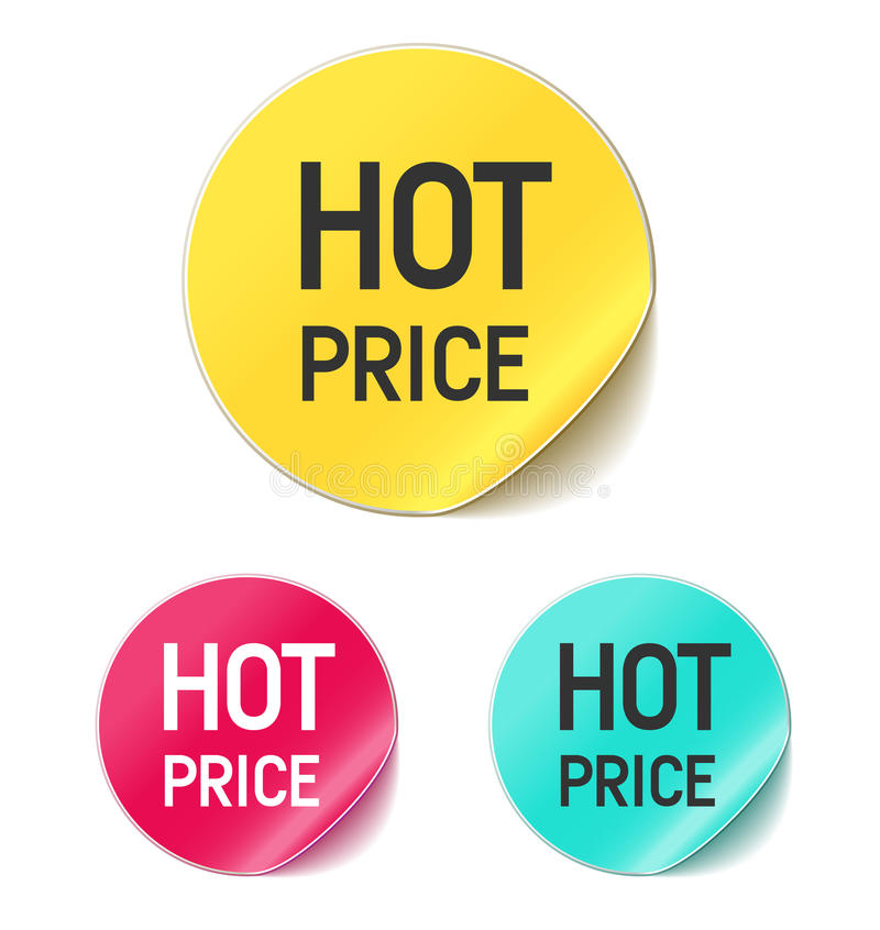 горячий стикер цены иллюстрация вектора