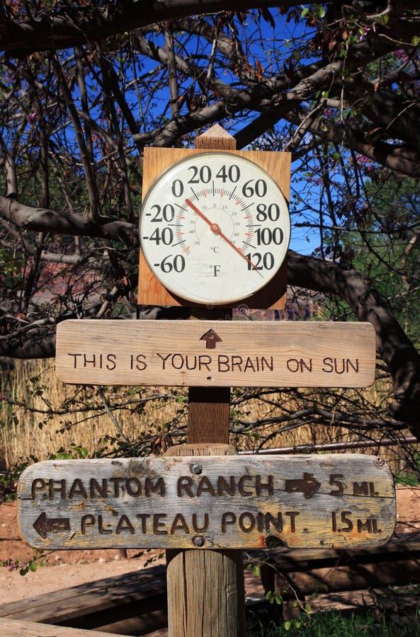 горячий термометр знака стоковые фотографии rf
