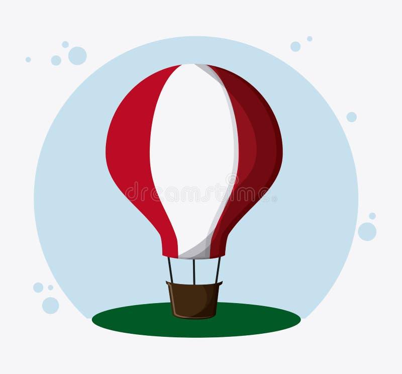 Горячий транспорт воздушного шара, вектор иллюстрация штока
