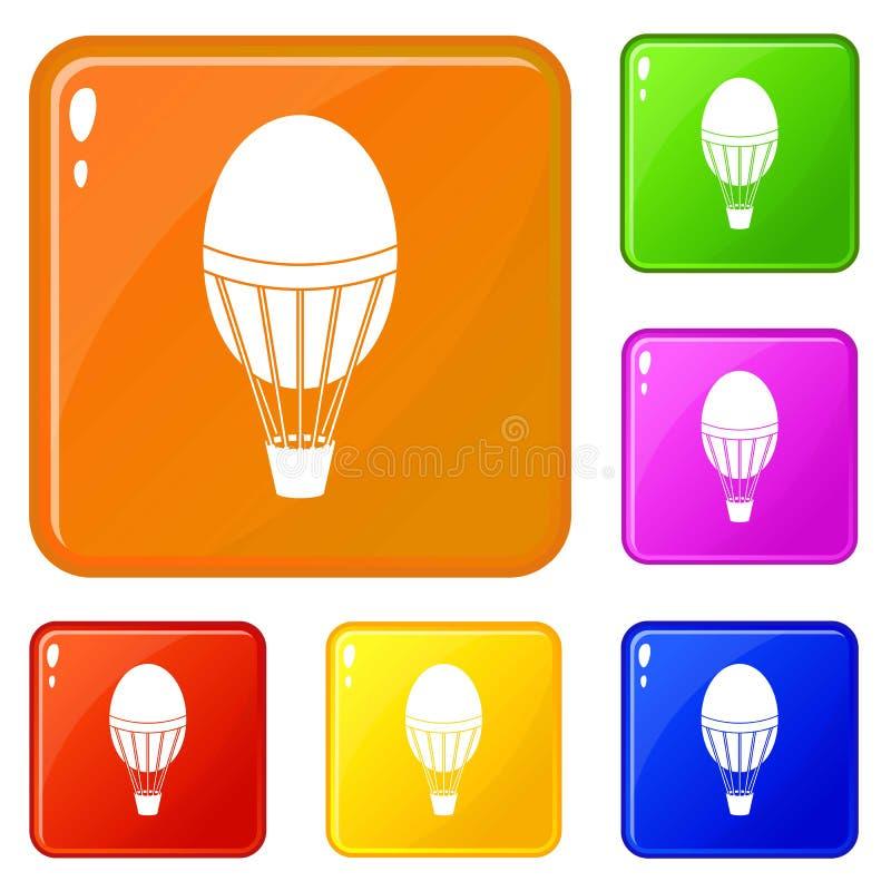 Горячий цвет вектора значков воздушного шара установленный иллюстрация вектора
