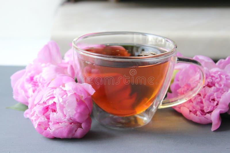 Горячий чай в прозрачной чашке, букете розовых пионов на темной предпосылке стоковое изображение