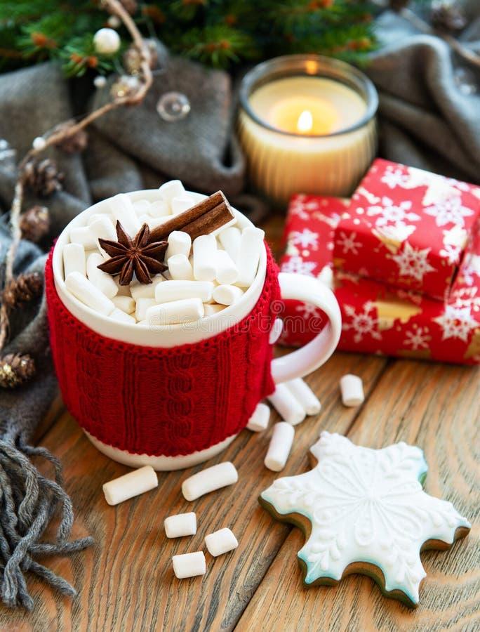 Горячий шоколад с зефирами и печеньем пряника стоковая фотография rf