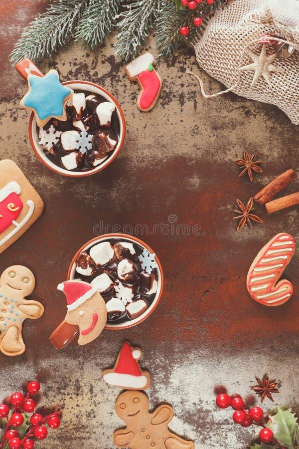 Горячий шоколад в установке рождества стоковая фотография