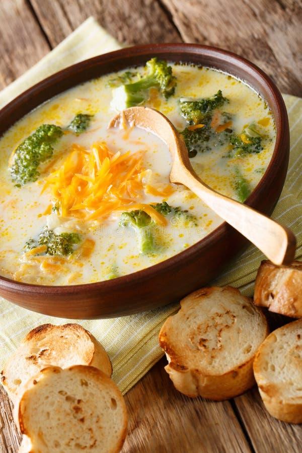 Горячий vegetable суп сыра брокколи в шаре с провозглашанным тост хлебом стоковое фото rf