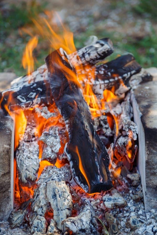 Горящая древесина на дне Лагерный костер на туристском лагере на природе в garde стоковое изображение
