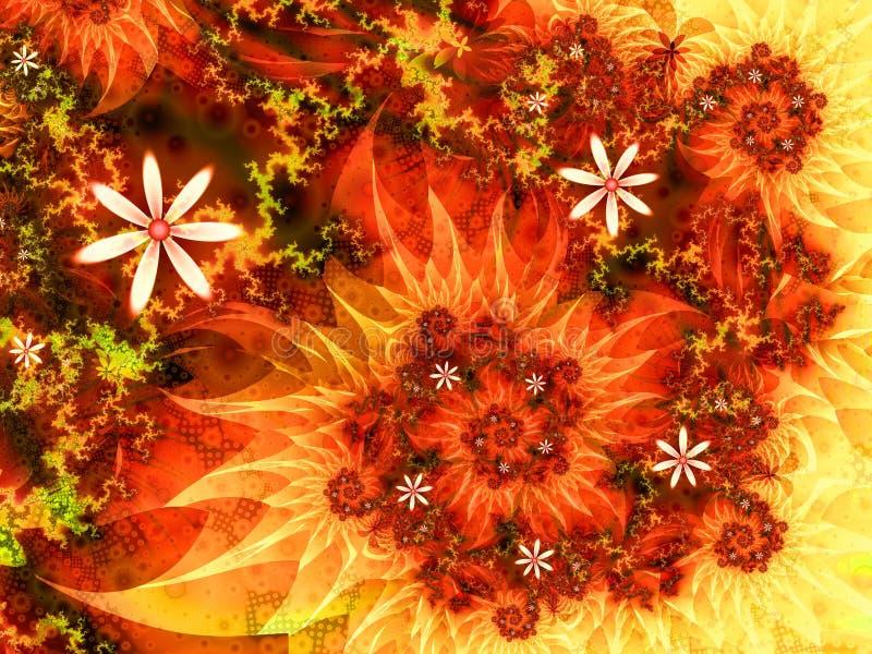 Горящая органическая флористическая иллюстрация свирли фрактали иллюстрация штока