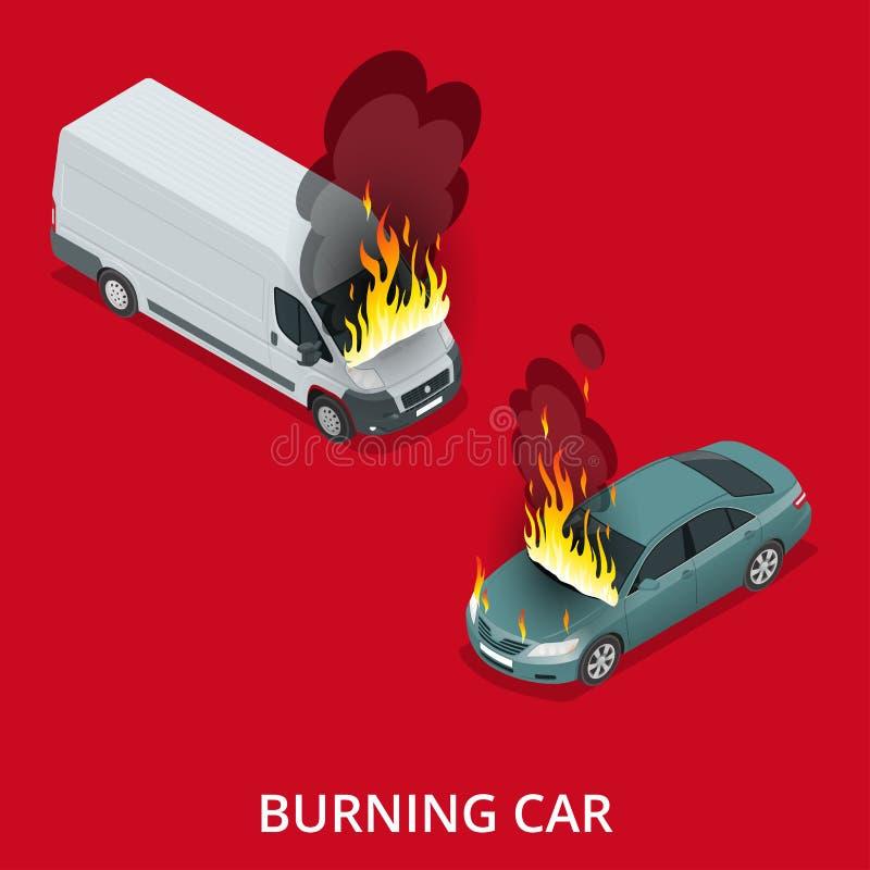 горящая дорога автомобиля Огонь внезапно начатый поглощать автомобиль иллюстрация штока