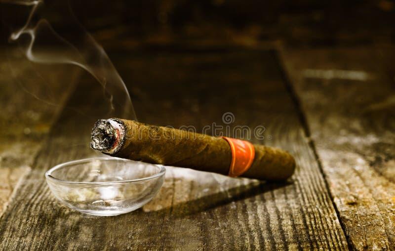 Горящая роскошная кубинская сигара стоковое изображение
