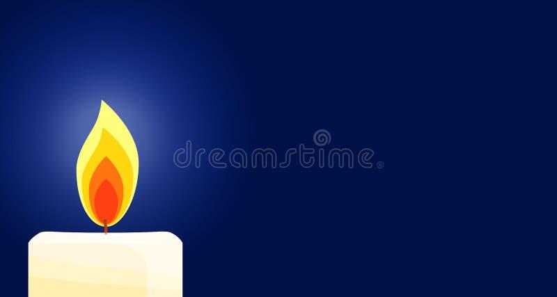 Горящая свеча, мемориальная свеча иллюстрация вектора