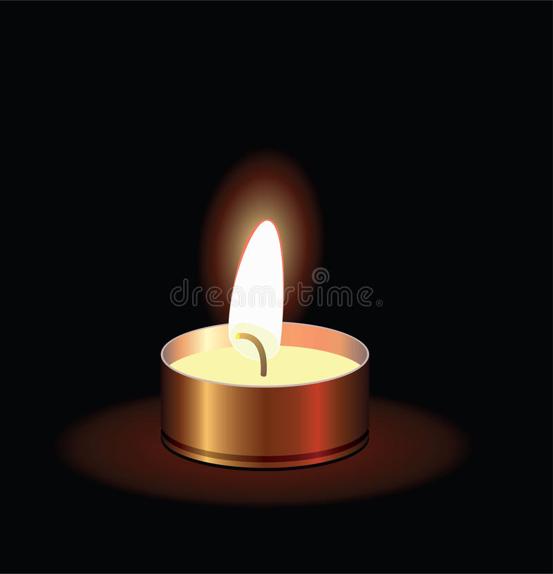 горящая свечка малая иллюстрация вектора