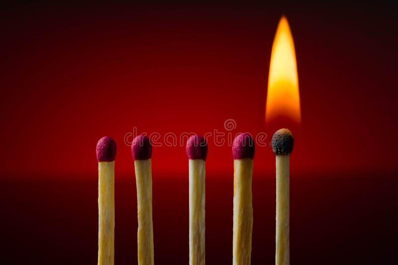 Горящая спичка, ожог, темнота, огонь, деревянный, искусство, разжигает, цепляет, проблескивает стоковое изображение rf