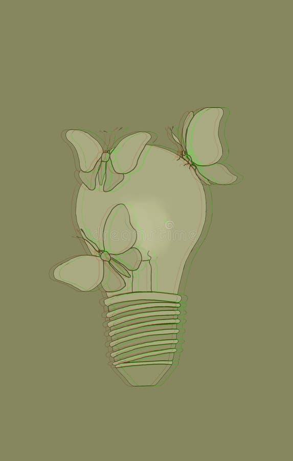 Горящая электрическая лампочка с бабочками стоковое изображение