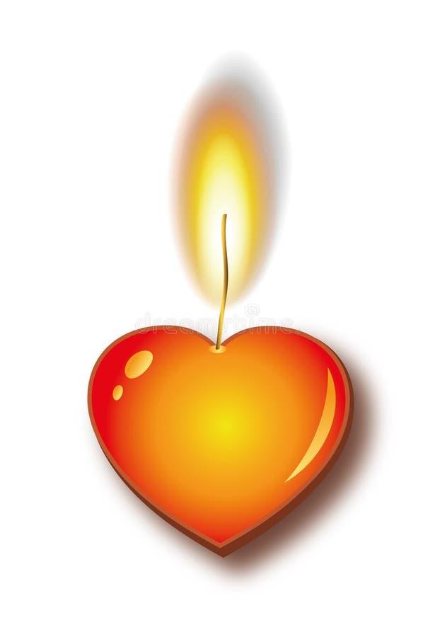 горящее сердце свечки иллюстрация вектора