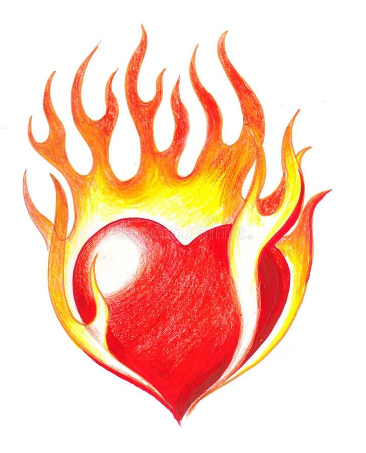 горящее сердце иллюстрация штока