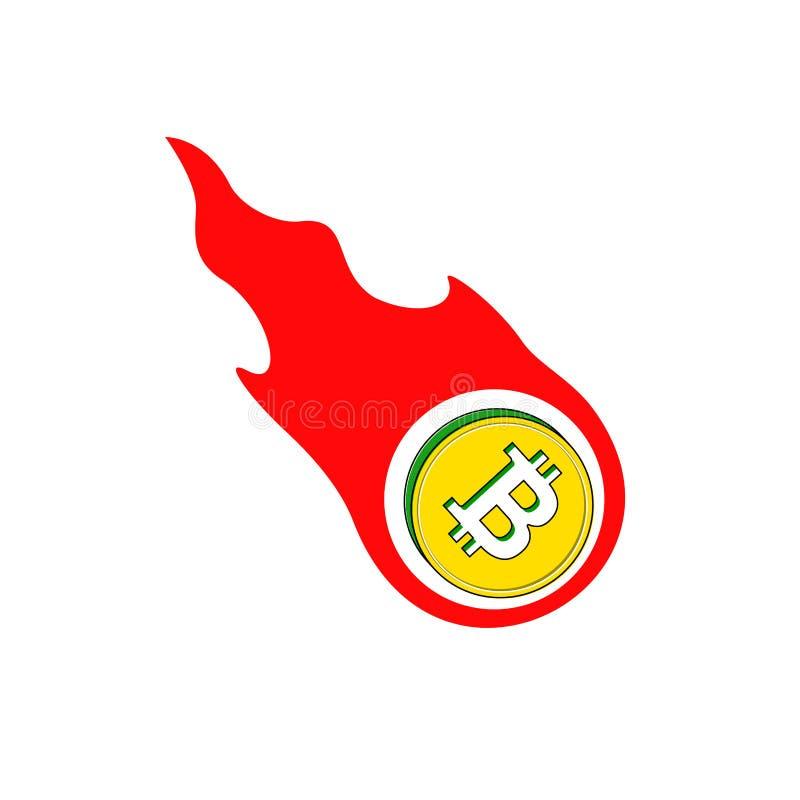 Горящее bitcoin в огне падает вниз, нисходящая тенденция также вектор иллюстрации притяжки corel иллюстрация штока