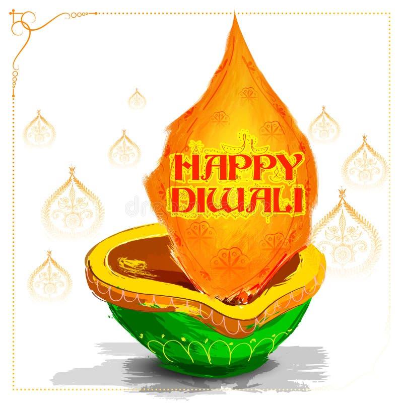 Горящее diya акварели на счастливой предпосылке праздника Diwali для светлого фестиваля Индии иллюстрация вектора