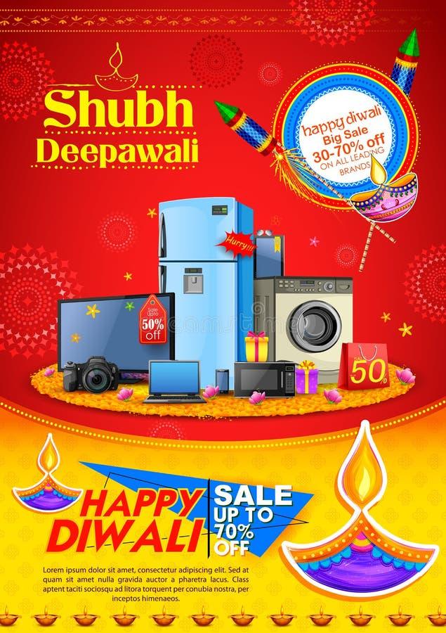Горящее diya на счастливой предпосылке рекламы продвижения продажи праздника Diwali для светлого фестиваля Индии иллюстрация штока