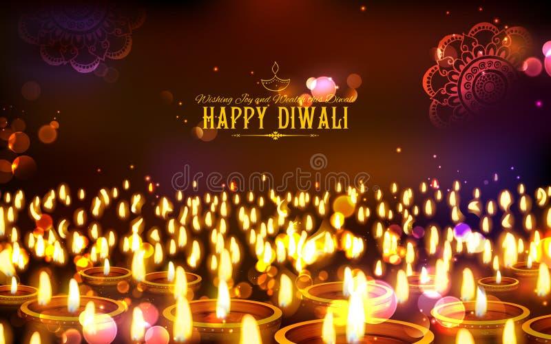 Горящее diya на счастливой предпосылке праздника Diwali для светлого фестиваля Индии иллюстрация штока