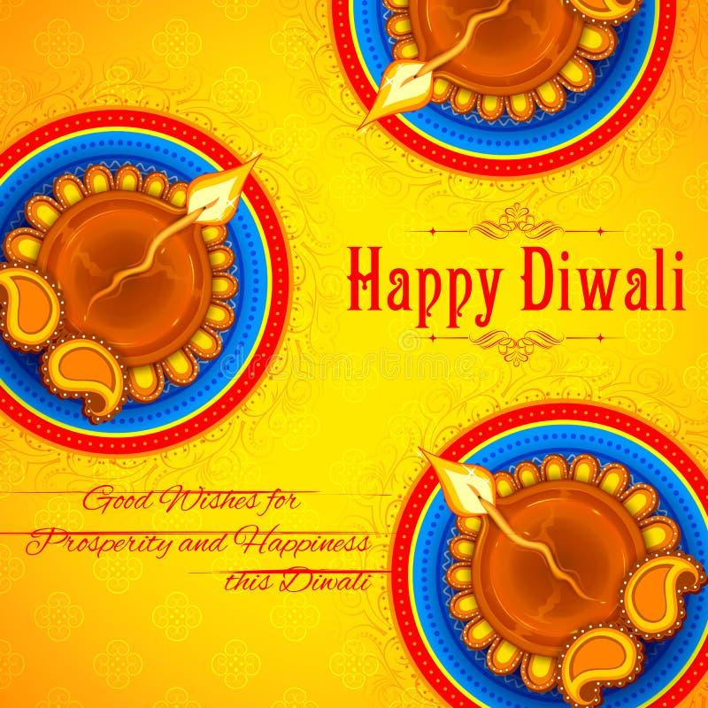 Горящее diya на счастливой предпосылке праздника Diwali для светлого фестиваля Индии иллюстрация вектора