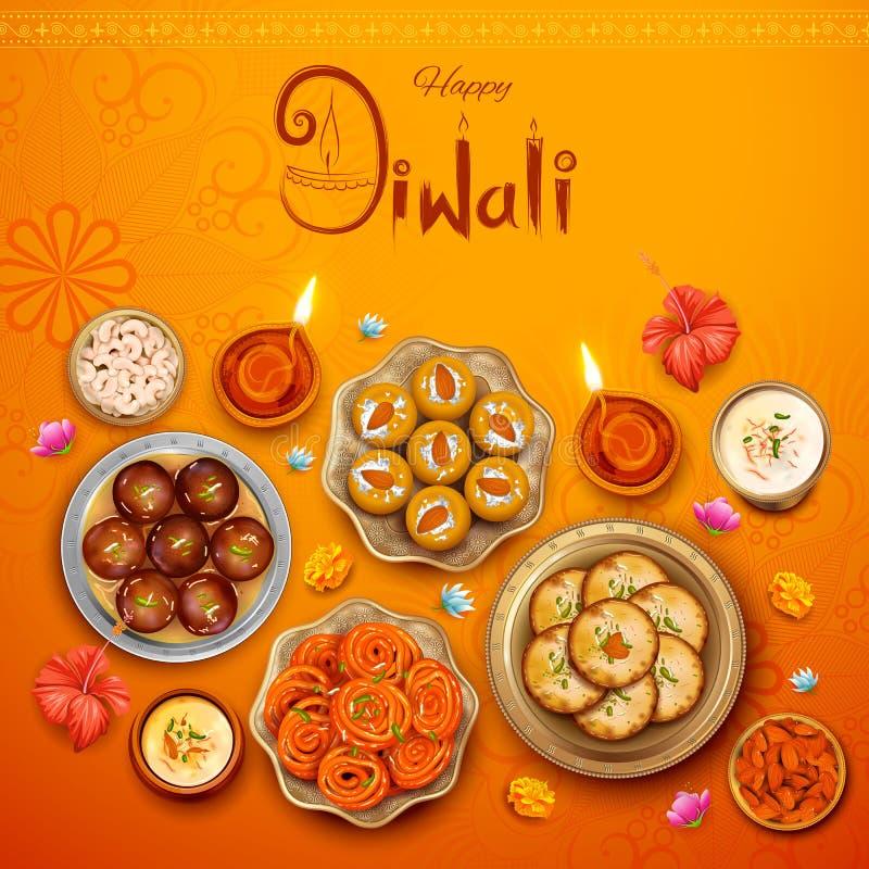 Горящее diya с сортированными помадкой и закуской на счастливой предпосылке праздника Diwali для светлого фестиваля Индии иллюстрация вектора
