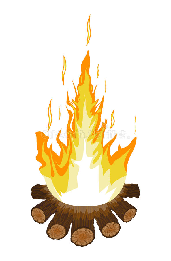 Горящие костер или лагерный костер Журналы и огонь иллюстрация вектора