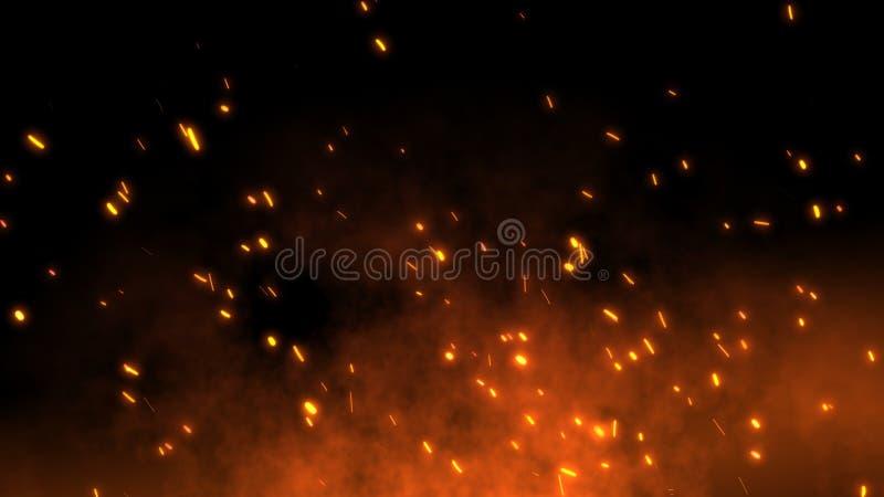 Горящие накаленные докрасна искры летают далеко от крупного пожара в ночном небе иллюстрация штока