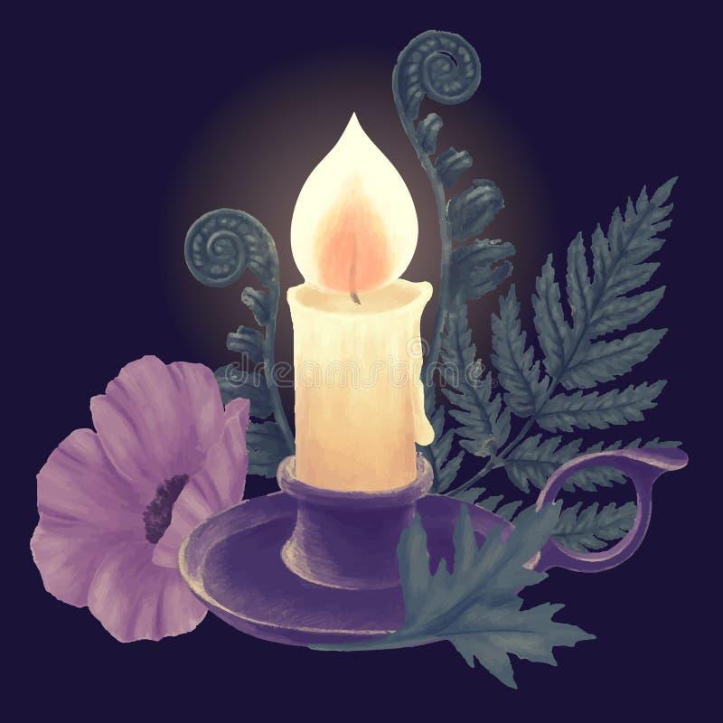 Горящие свеча и держатель бесплатная иллюстрация
