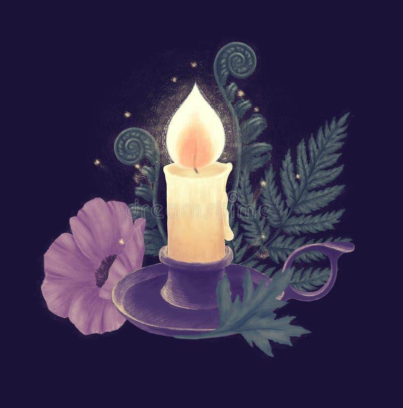 Горящие свеча и держатель иллюстрация штока