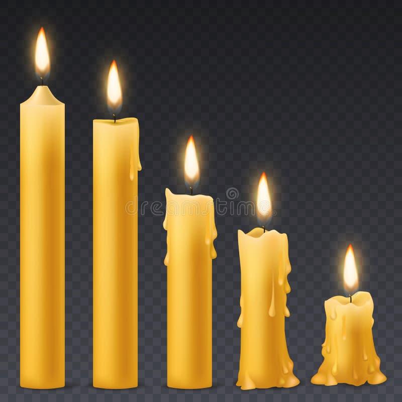 горящие свечки Свеча воска с огнем фликера романтичный набор вектора торжества дня рождения иллюстрация штока