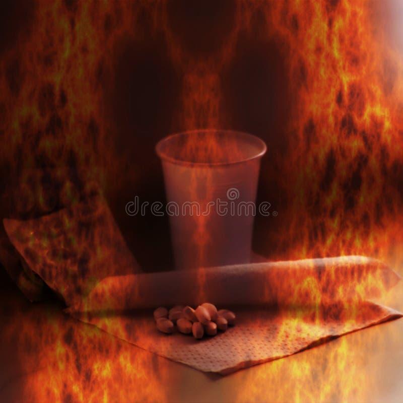 Горящие таблетки и чашка - символическое представление зависимости лекарства стоковое фото rf