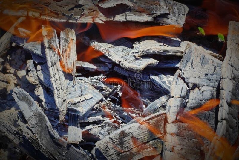 Горящие угли в гриле стоковые изображения rf