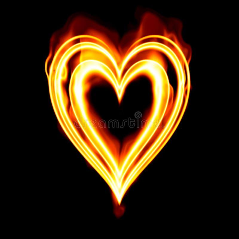 горящие valentines сердца пожара иллюстрация вектора
