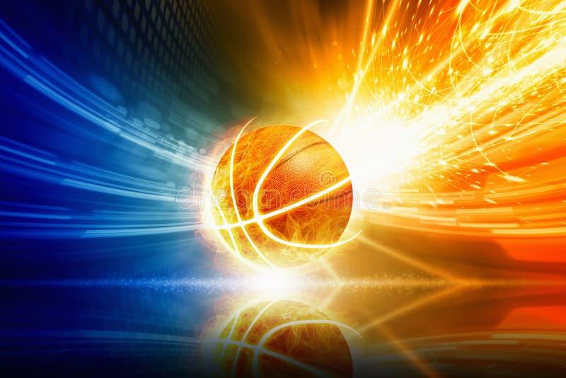Горящий баскетбол стоковая фотография