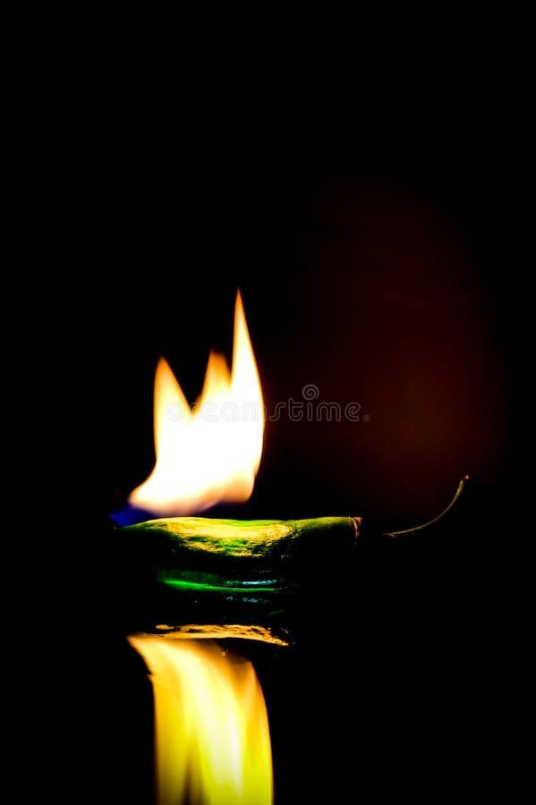 Горящий - горение зеленого перца стоковое фото rf