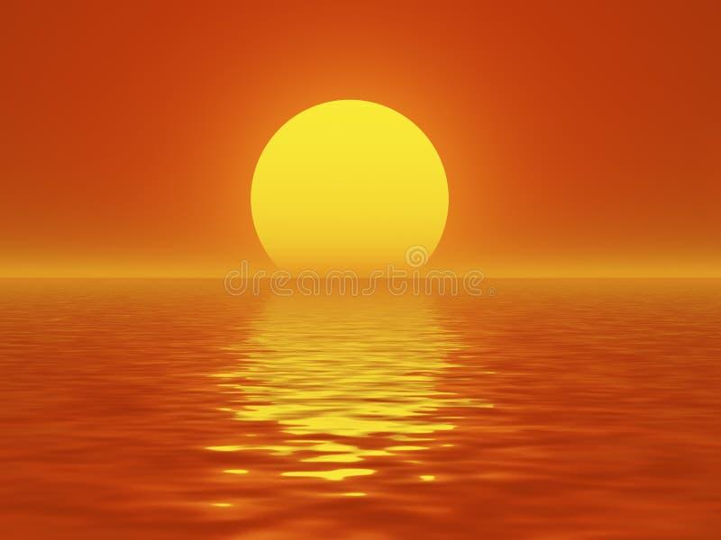 горящий заход солнца иллюстрация штока