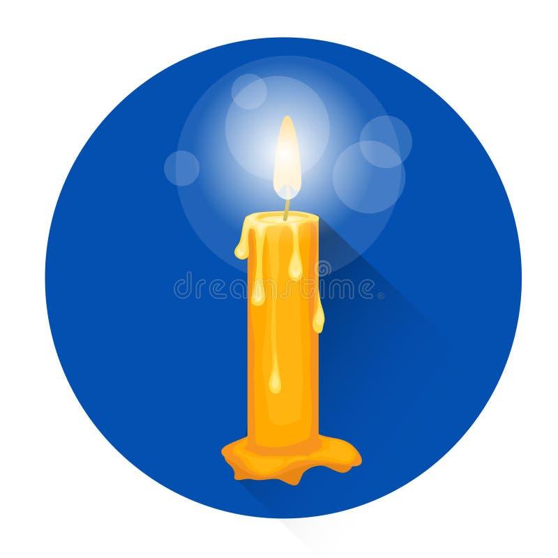 Горящий значок праздника хеллоуина вероисповедания свечи иллюстрация вектора