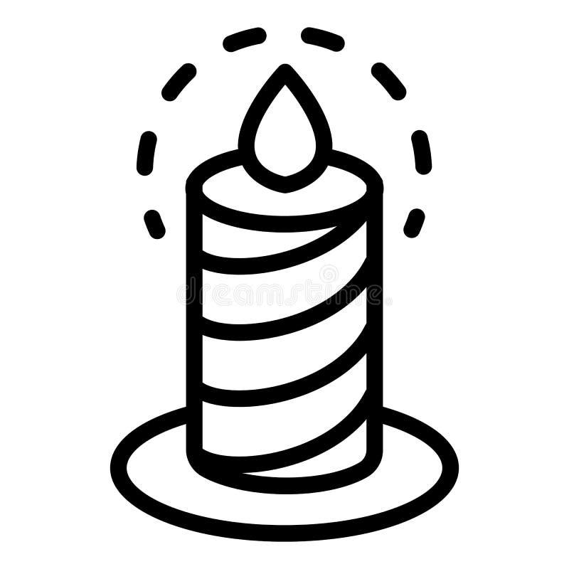 Горящий значок свечи, стиль плана иллюстрация штока