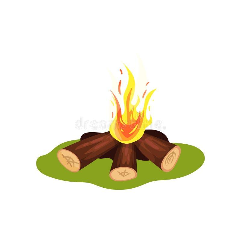Горящий костер на зеленой траве Швырок и горячий огонь желт-апельсина Элемент каменного века Плоский вектор для передвижной игры иллюстрация штока