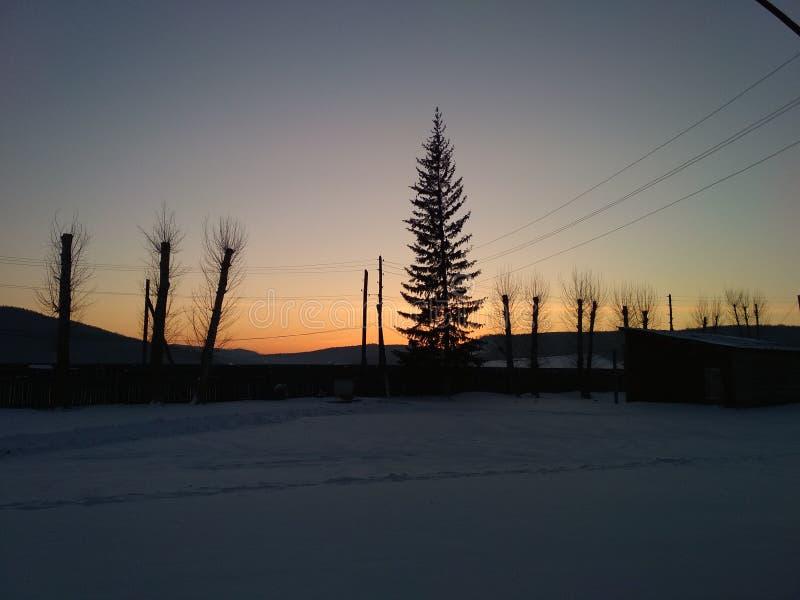 горящий морозный заход солнца стоковые изображения rf