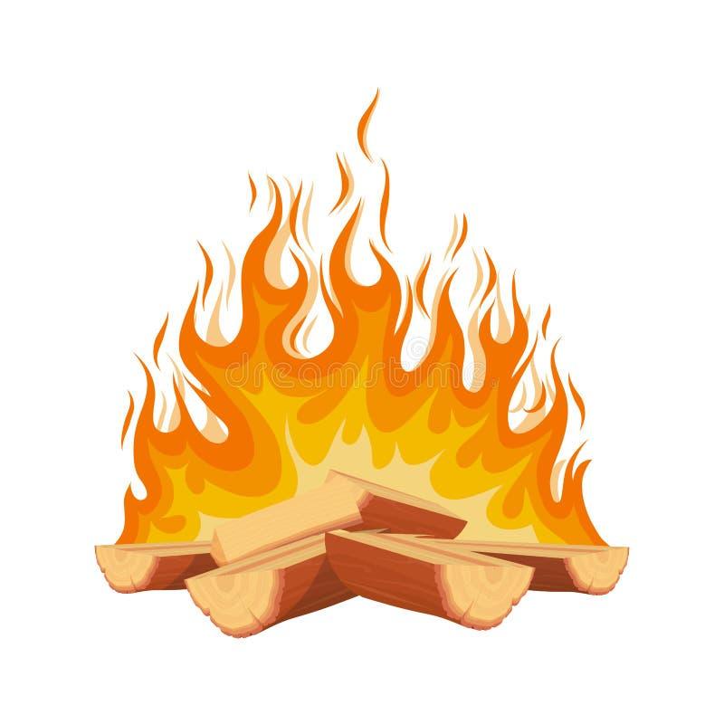 Горящий огонь Огонь Журналы из дров в огне Пожар в лесном лагере иллюстрация вектора