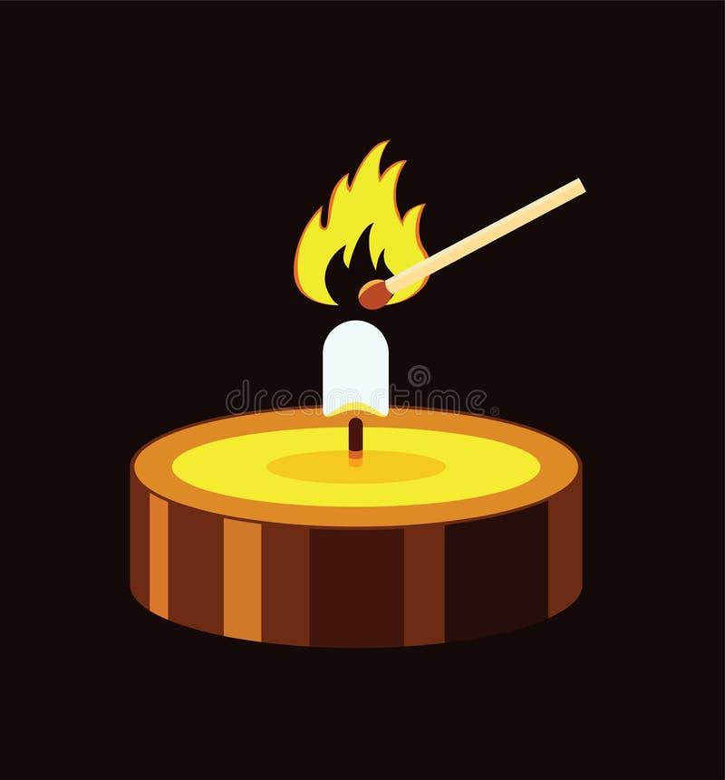 Горящий огонь свечи и спички иллюстрация вектора