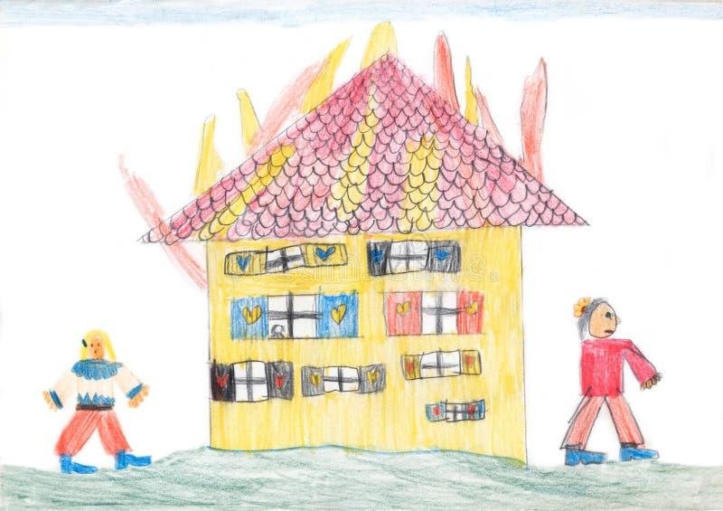Горящий дом - чертеж crayons детей иллюстрация вектора