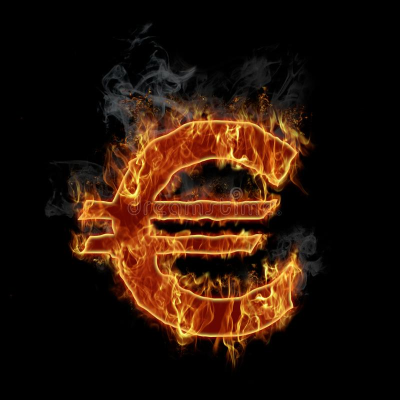 горящий символ евро иллюстрация вектора