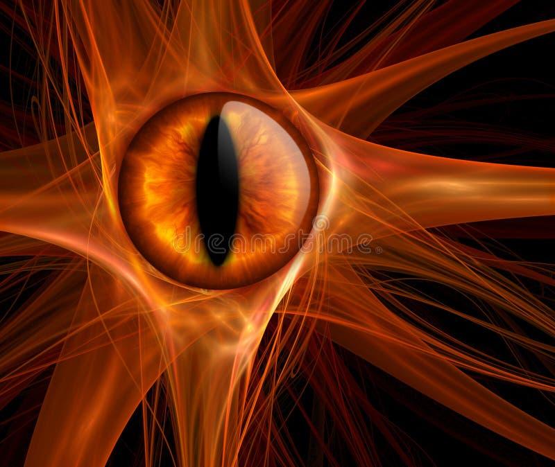 горящий тигр глаза иллюстрация штока